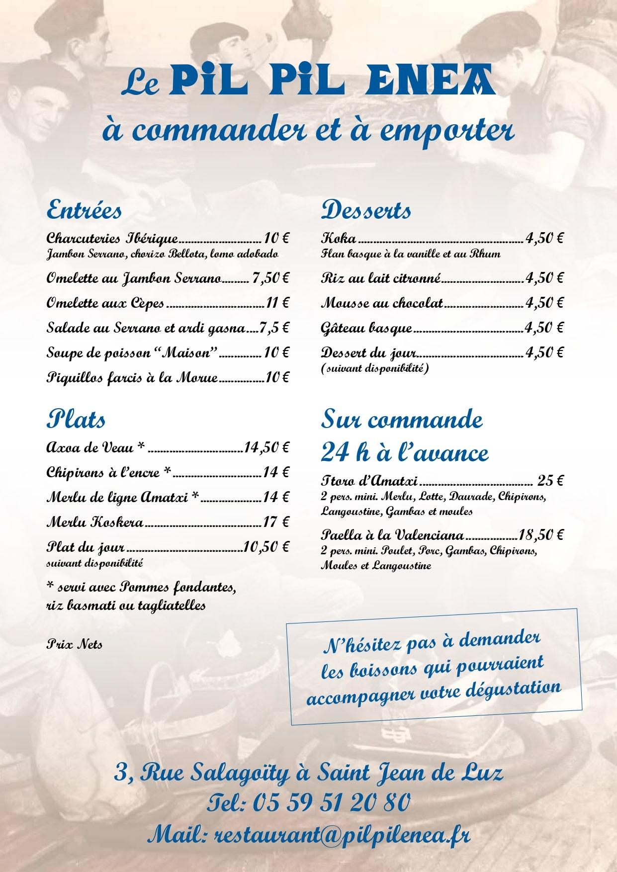 Plat à emporter - restaurant - Pil Pil Enéa - Saint Jean de Luz
